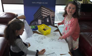 Kids colouring in at the 2016 Health Research Open Day