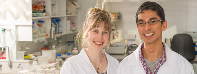 Vanessa Lattimore and Abel Ang in the lab at the University of Otago, Christchurch