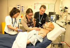 Image courtesy of Star Media - Medical students assess a sick Alex in the Simulation Centre