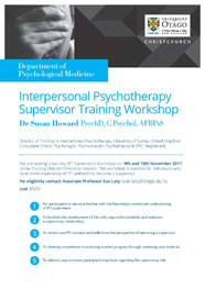 flyer - Interpersonal Psychotherapy Supervisor Training workshop