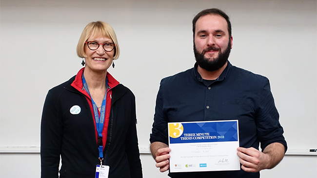 Chris Kaldor UOC 3MT Master's Winner 2018