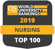 QS World University Rankings logo - Nursing Top 100 in 2019
