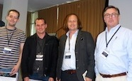 Picture of Kiel Hards, Jeremy Raynes awarded poster prize by Scott Beatson and Kurt Krause at QMB Queenstown NZ August 2015