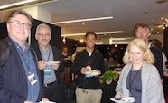 Picture of Professors Kurt Krause and David Murdoch (Otago University); Richard Kingston (Auckland University); Dr Lawrence Lee (UNSW) and Professor Catherine Day (Otago University) at the QMB ID 2017 meeting