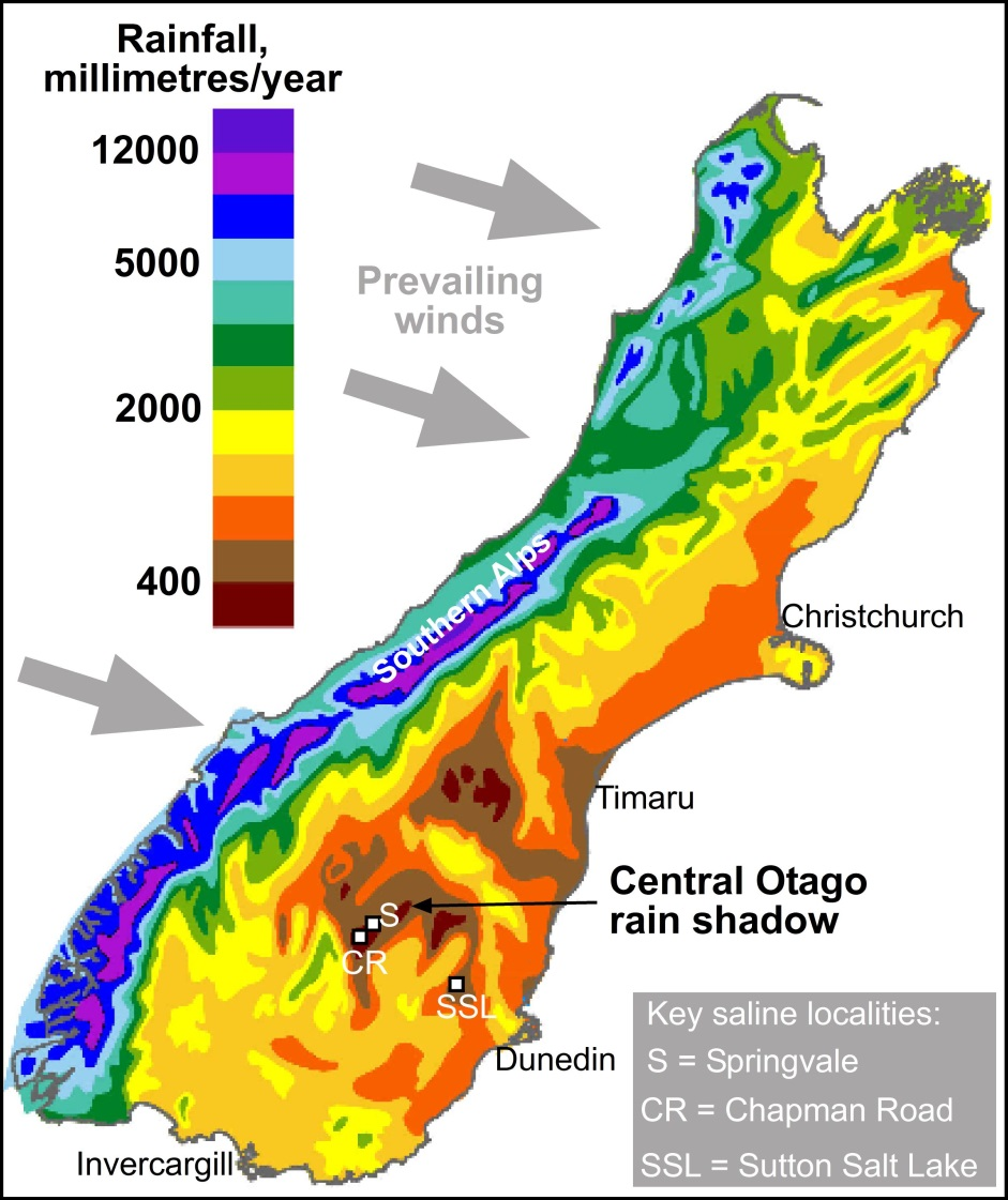 Evaporative Salts In Central Otago Geomorphology Department Of - Rain shadow map us