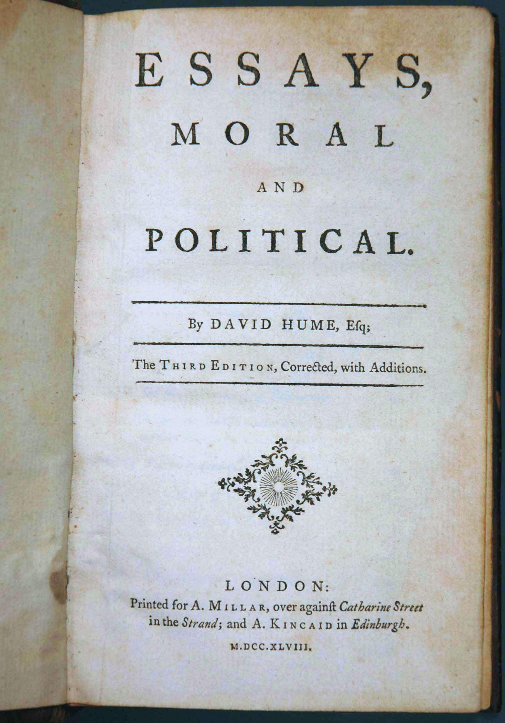 david hume essays moral political And retitled essays, moral, political and literary in hume's collection of philosophical works,  political discourses by david hume esq  david fate.