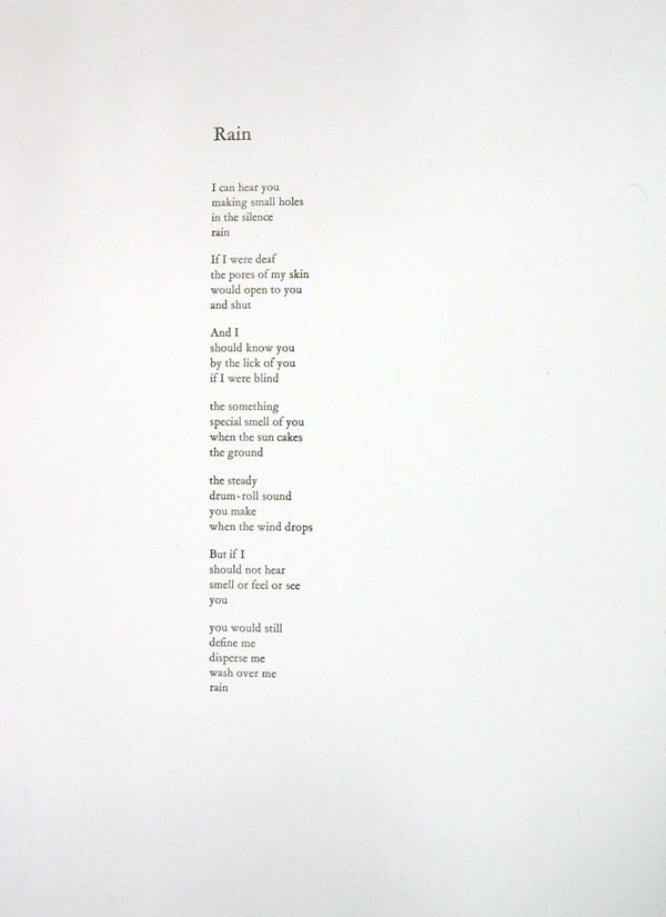 rain by hone tuwhare essay My all time favorite poem ever rain - hone tuwhare i can hear you making small holes in the silence rain if i were deaf the pores of my skin would open.