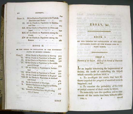 thomas malthus first essay on population summary The following year he was appointed to the east india company's newly founded college at haileybury as the first professor of political economy in the british isles in 1798 malthus had published, anonymously, an essay on the principle of population as it affects the future improvement of society1 in it he called attention to.