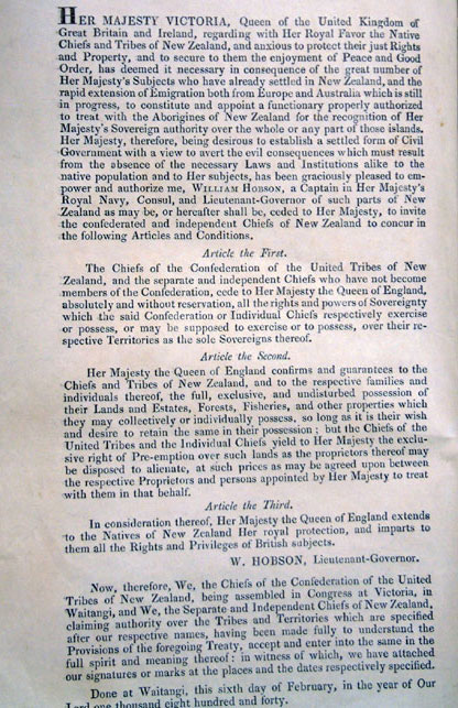treaty of waitangi essay questions