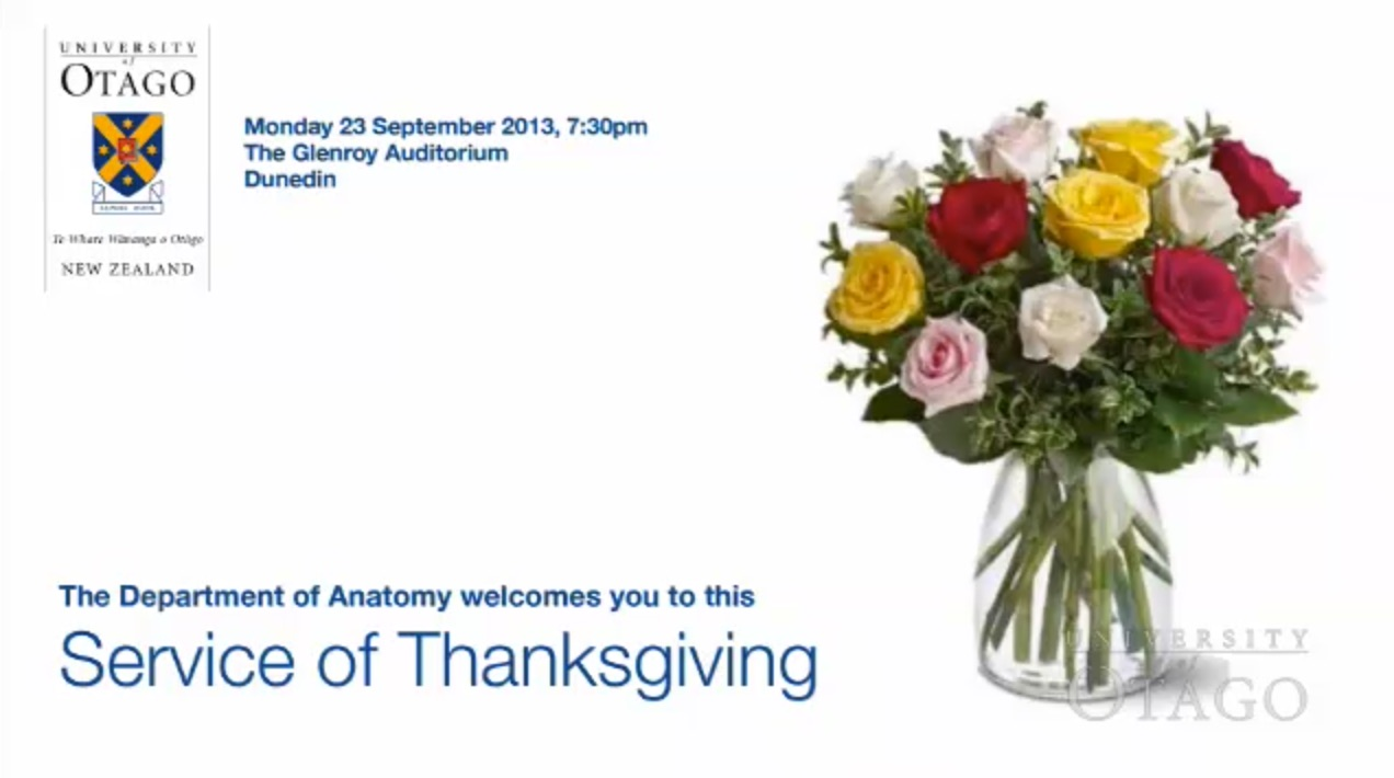 Giving thanks, Department of Anatomy, University of Otago, New Zealand
