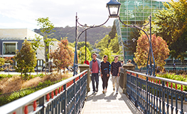 Three University of Otago students crossing the St David Street footbridge on the Dunedin campus. Image.