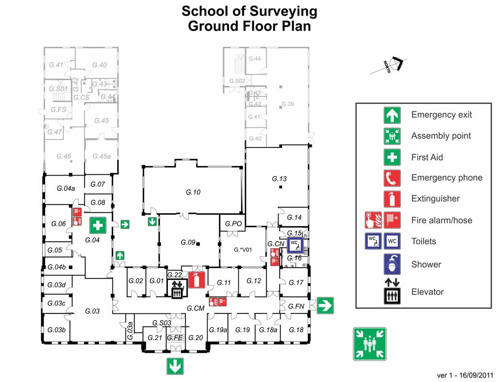 Fire Exit Floor Plan Health And Safety School Of Surveying University Of